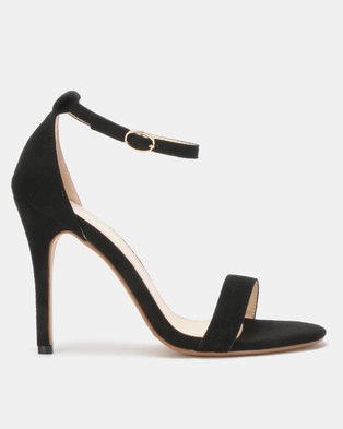 Utopia Microfibre Barely There Heels Black