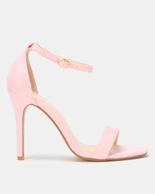 Utopia Microfibre Barely There Heels Pink