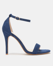 Utopia Microfibre Barely There Heels Blue