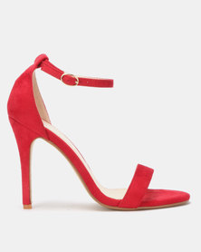 Utopia Microfibre Barely There Heels Red