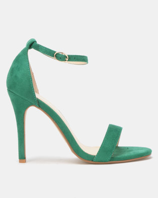Utopia Microfibre Barely There Heels Green