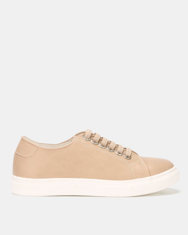 Utopia Lace Up Sneakers Nude