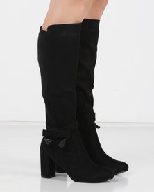 Utopia Bow Trim Knee High Boot Black