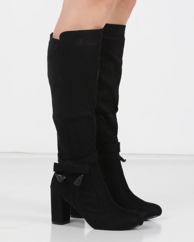 Utopia Bow Trim Knee High Boot Black