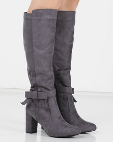 Utopia Bow Trim Knee High Boot Grey