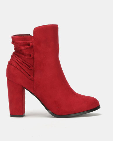 Utopia Back Lace Up Boots Maroon