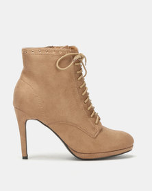 Utopia Platform Lace Up Boot Tan