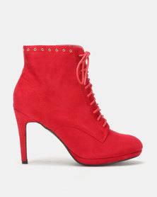 Utopia Platform Lace Up Boot Red