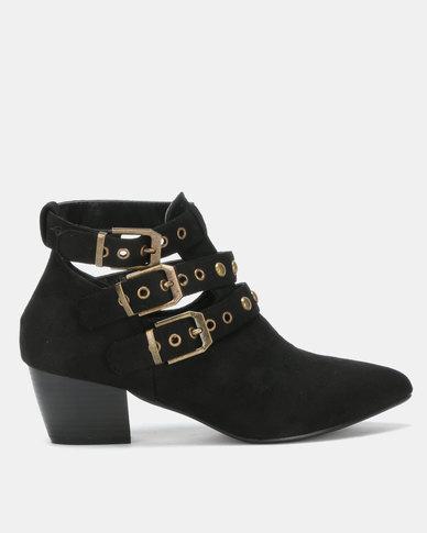 Utopia Studded Strap Boot Black