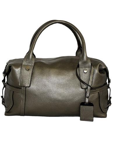 Fino Genuine Leather Shoulder Bag Silver