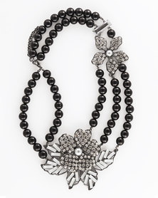 The Jewellery Box Flower Beaded Necklace Black