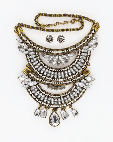 The Jewellery Box Gold & Crystal Necklace & Earring - Gold