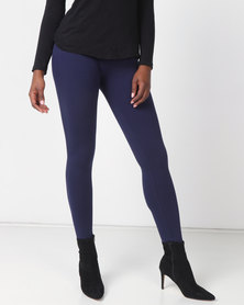 Queenspark Private Label Knitted Long Leg Leggings Navy