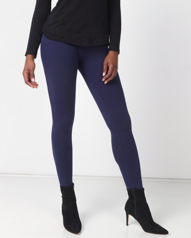 Queenspark Private Label Knitted Long Leg Leggings Navy