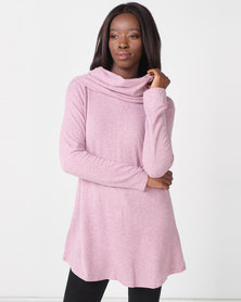 Queenspark Private Label Turtle Neck Cut & Sew Long Sleeve Knit Top Pink