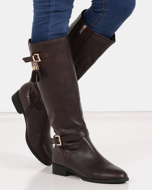 Queenspark Long Double Buckle Boot Brown