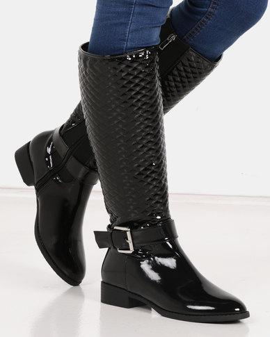 Queenspark Long Boot Regular Quilting Black