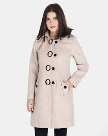 cath.nic By Queenspark Twiggy Wheat Melange Woven Coat Stone