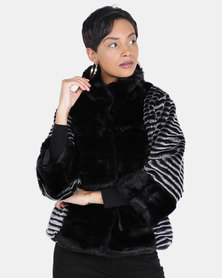cath.nic By Queenspark Cropped Fun Faux Fur Woven Jacket Black