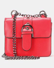 Legit Buckle Trim Satchel Bag Red