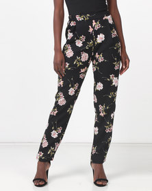 Legit Floral Drapey Tapered Pants Black