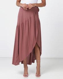 Legit Frill Wrap Maxi Skirt Brandy Pink