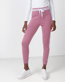 Legit Fleece Joggers With Velour Side Stripes Dusty Rose