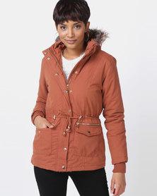 Legit Hooded Parker Jacket With Fur Trim Rust
