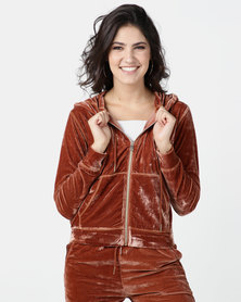 Legit Velour Zip Through Hoodie Rust