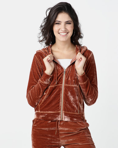 Legit Velour Zip Through Hoodie Rust
