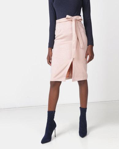 Legit Mock Wrap Detail Suede Skirt Blush