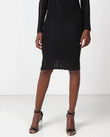 Legit Lurex Knit Stripe Pencil Skirt Black
