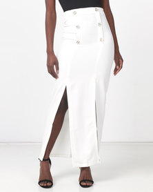 Legit Maxi Skirt With Sailor Button Detail White