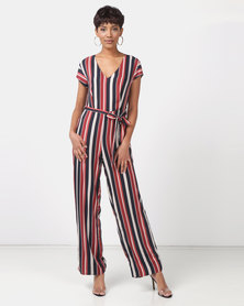 Legit Stripe Wide Leg Jumpsuit With Self Belt Waist Tie Multi