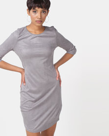 Legit Suede 3/4 Sleeve Tube Dress Grey