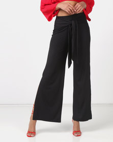 Legit Knit Tie Sash Side Slit Wideleg Pants Black