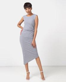 Legit Tube Midi Dress With Waist Knot Detail Charcoal Melange