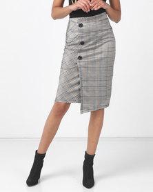 Legit Mock Wrap Large Button Check Pencil Skirt Black
