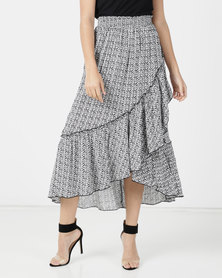 Legit Tribal Print Hilo Frill Maxi Skirt Black/White