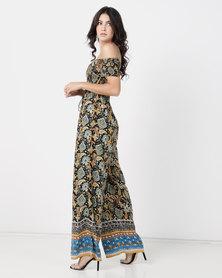 Legit Bardot Shirred Folk Print Wide Leg Jumpsuit Multi