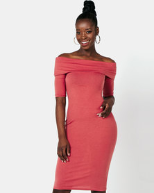 Legit Bardot Midi Tube Dress Dark Blush