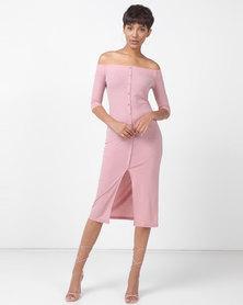 Legit Bardot Button Front 3/4 Sleeve Tube Dress Blush