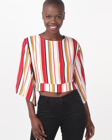 Legit Open Tie Back Stripe Blouse Multi