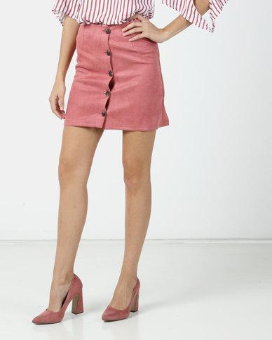 Legit Suede Aline Btn Mini Skirt Dark Blush