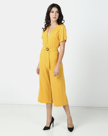 Legit Batwing Sleeve Jumpsuit With Tortoise Shell Buckle Mustard