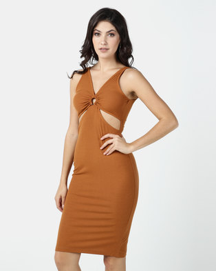 Legit Midi Tube Dress With Horse Shoe Cut Out Detail Rust