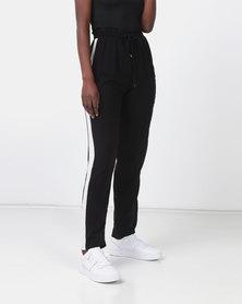 Legit Contrast Side Stripe Studded Wideleg Pants Black/White