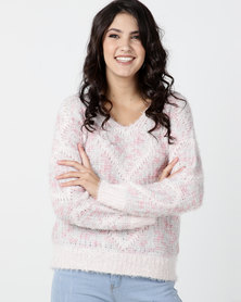 Legit V-Neck Pullover In Jacquard Heart Pink Animal
