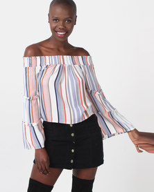 Legit Bardot Stripe Top With Tiered Sleeve Multi