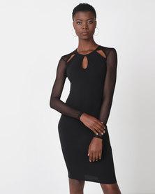 Legit Long Sleeve Mesh Cutout Detail Bodycon Black